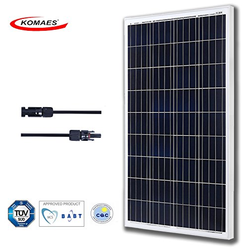 KOMAES 100 Watts 12Volts Polycrystalline Solar Panel, PV Solar Charger Includes MC4 Connector With Energy-efficient Technology (100W Poly) by KOMAES