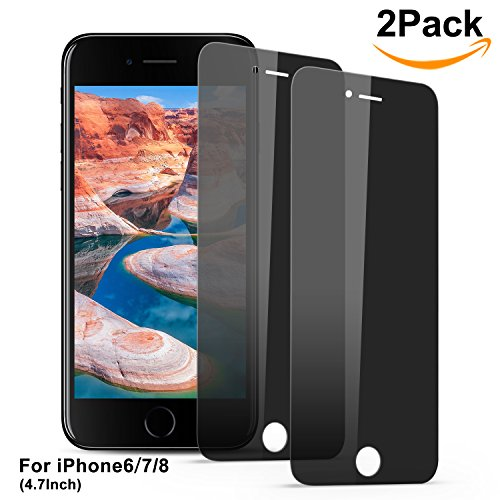Bestfy 2 PACK iPhone 7/ 8 Privacy-Protective Screen Protector, Anti-Spy Anti-Glare Tempered Glass Screen Protector for iPhone 7/ 8 [Anti-Scratch] [Easy Install] (Night Phone Protector)
