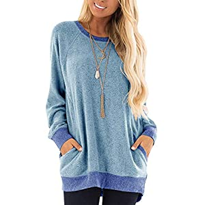 TEMOFON Womens Soft Long Sleeve Top Casual Color Block Round Neck Pocket Pullover Loose Tunic T Shirts Tops Grey Blue L