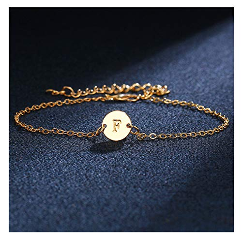 (CHUYUN Silver Initial Charm Bracelets,Dainty Round Coin Disc Initial Bracelet Engraved Letters Personalized Name Bracelet for Girls (F))