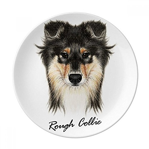 (Long-haired Rough Collie Pet Animal Dessert Plate Decorative Porcelain 8 inch Dinner Home)