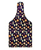 Lunarable Lantern Cutting Board, Abstract Arabian Moroccan Icons in Vibrant Colors Oriental Eastern Motifs and Dots, Decorative Tempered Glass Cutting and Serving Board, Wine Bottle Shape, Multicolor