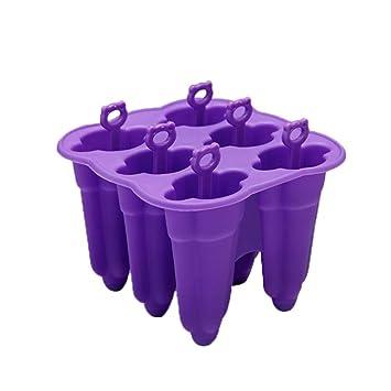 H-sunshy Moldes de Silicona para paletas, Fabricantes de paletas BPA Gratis, moldes para estallido de Hielo, Juego de 6 (púrpura): Amazon.es: Hogar