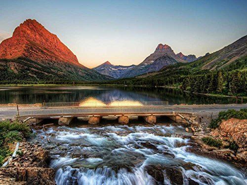 Glacier National Park, Montana -Oil Painting On Canvas Modern Wall Art Pictures For Home Decoration Wooden Framed (20X16 Inch, Framed)