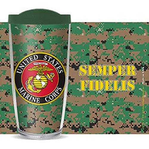 US Marine Globe & Anchor Semper Fidelis 16 Oz Traveler Tumbler Mug with Lid - Camo Marine Globe