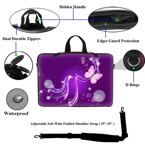 Hidden 6 Carrying with Sleeve Adjustable Handle Shoulder Laptop 15 Portable Butterfly inch Strap and Purple Neoprene Case 15 Swirl Computer Bag 75npSw