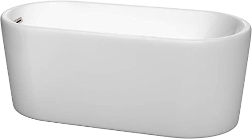 Wyndham Collection Ursula 59 inch Freestanding Bathtub in White with Brushed Nickel Drain and Overflow Trim