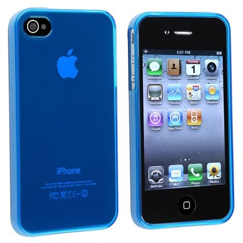 Generic Plain TPU Rubber Case Cover for Apple iPhone 4/4s - Non-Retail (Royal Blue Cell Phone Case)
