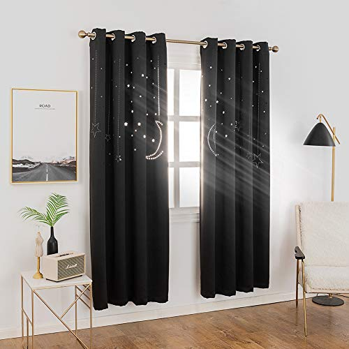 MANGATA CASA Star Blackout Curtains Grommet Thermal 2 Panels for Kids Bed Room,Cutout Galaxy Window Curtain Darkening Drapes for Nursery Living Room(Black 52X84in) ()