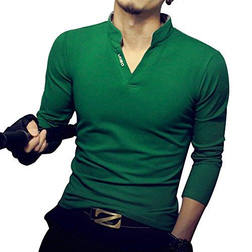 LOGEEYAR Mens Short-Sleeve Slim Fit Cotton Pique Polo Shirt,Medium,2-green