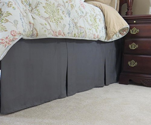"SRP Bedding Real 210 Thread Count Split Corner Bed Skirt/Dust Ruffle King Size Solid Charcoal Gray 18"" inches Drop Egyptian Cotton Quality Wrinkle & Fade Resistant"