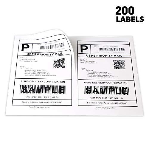 "[100 Sheets; 200 Labels] Half Sheet Self Adhesive Shipping Labels for Laser & Inkjet Printers, 5-1/2"" X 8-1/2"""