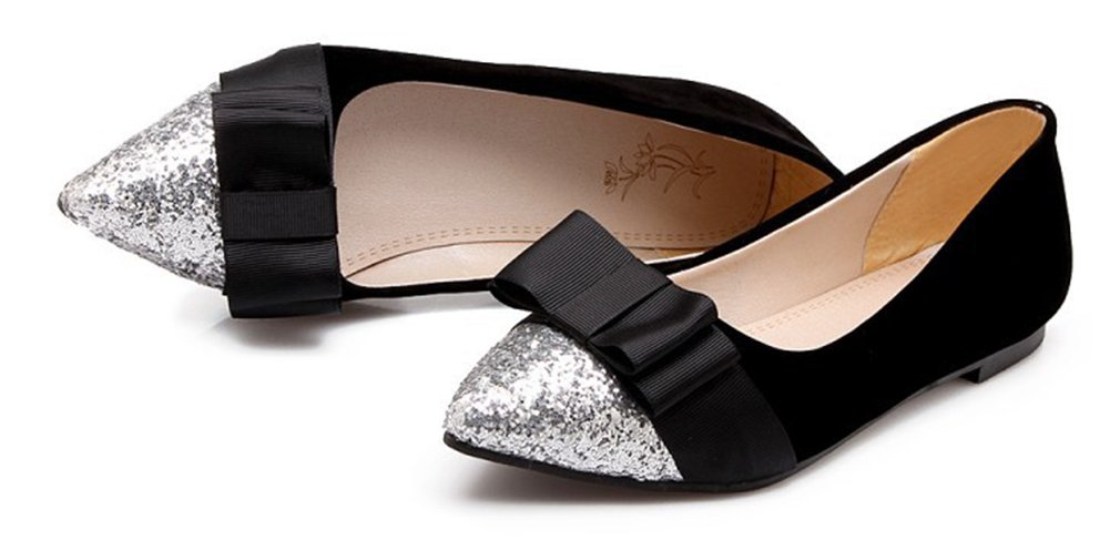 Aisun Women's Glitter Sequins Low Cut Pointed Toe Driving Cars Dressy Slip On Flats Shoes With Bow B07B67RNQ2 12 B(M) US|Black