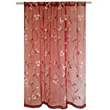 Cheap WINYY Rustic Embroidery Sheer Curtain Yarn Floral Window Curtain Rod Pocket Top Tulle Living Room Dining Room Drape 1 Panel W95 x H96 inch