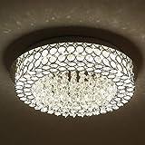 Horisun LED Ceiling Light Crystal Chandelier ETL Listed Dimmable Lighting Flush Mount with Modern Crystal Raindrop Pendant Lamp Apply to Dining Room, Bathroom, Bedroom, Living Room, 5 Years Warranty