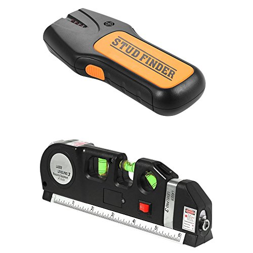 3 in 1 Multiscanner Stud Finder and Multipurpose Laser Level Bundle | 8 Foot Tape Measure | Stud Finder | Laser Level | Picture Hanging | Handyman DIY | Construction | Tiling
