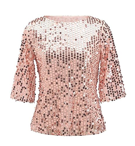 (Easyhon Women Sequin Sparkle Glitter Tank Coctail Party Tops Shining T-Shirt Blouses Pink)