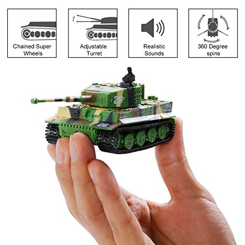 SGILE RC Radio Tank Toy for Kids Birthday Gift Present, Remote Control Invincible Tornado Twister Power Wheels Stunt Car Rechargeable Toys for Boys, Green