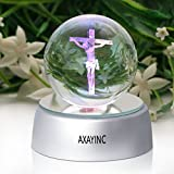 3D Crystal Ball Fancy LED Lighting with Base, Advanced Laser Engraving, Ideal Present for Kids, Friends, Perfect for Home, Offices, Bars Decor etc. - 50mm Jesus