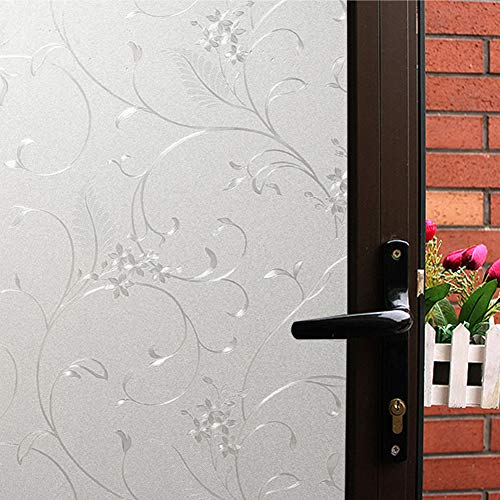 Mikomer Privacy Window Film Wheat Flower Static Cling Glass Door Film, Non Adhesive Heat Control Anti UV Window Cling for Office and Home Decoration,35 inches by 118 inches (Static Window Cling)