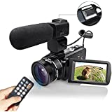 Clearance! Digital Camera Camcorders WiFI Full HD 1080P Digital Video Camera 24MP 16X Digital Zoom with Wide Angle Lens External Microphone Remote Control Handy Cam Recorder,2 Batteries(Camcorder-z20)