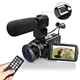 Digital Camera Camcorders Eamplest WiFI Full HD 1080P Digital Video Camera 24MP 16X Digital Zoom with Wide Angle Lens External Microphone Remote Control Handy Cam Recorder,2 Batteries(Camcorder-z20)