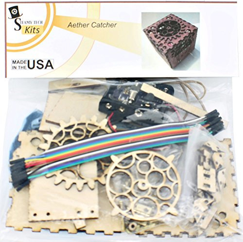 Build-It-Yourself Aether Catcher Kit - Magic Aether Catching Steampunk Box with LED Color Changing Light + Living Room Display LED Lighting + Night Light Mood Changing + Natural Remedy for - Tech Steampunk