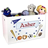Boy's Personalized White Toy Box