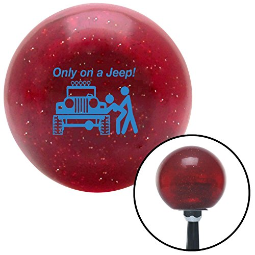 American Shifter Company ASCSNX62811 Blue Only On A Jeep Red Metal Flake Shift Knob with M16x1.5 Insert custom