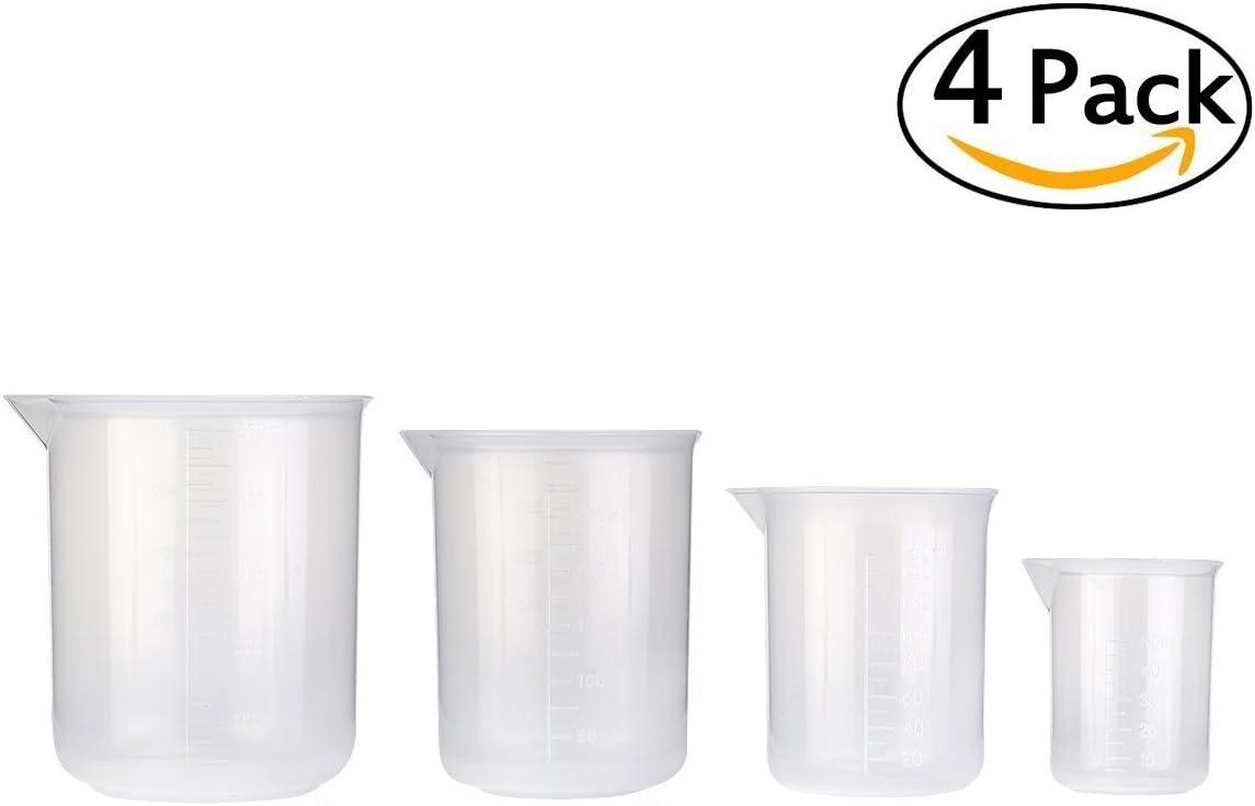sungpunet Juego de 4vasos transparente graduada de plástico Herramientas de medición 50ml 150ml 250ml 500ml (transparente)