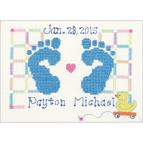 """Baby Feet Counted Cross Stitch Kit-7""""X5"""" 14 Count"""