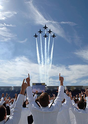 Members of the US Naval Academy cheer as the Blue Angels perfom during graduation Poster Print by Stocktrek Images (11 x 17)
