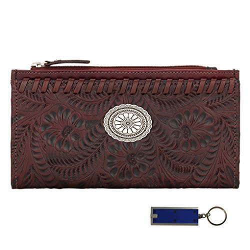 - American West Leather Ladies Folded Wallet Bundle w Key Chain Purse Light - (Distressed Crimson)