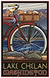 Lake Chelan Washington Fat Tire Bike Travel Poster