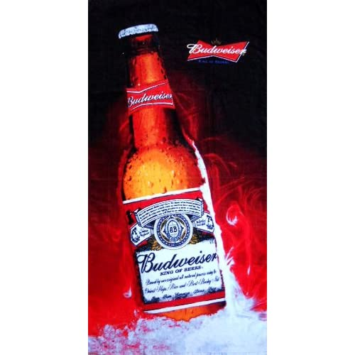 "Top KAUFMAN - BUDWEISER CHILLED CLASSIC Beach Towels, (22107) 30"" x 60"" Velour Beach Towels free shipping"