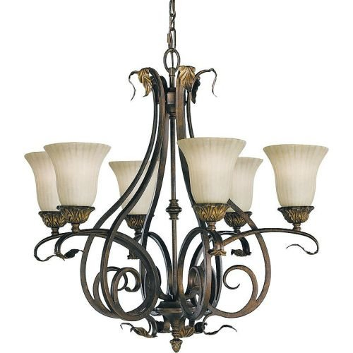 Murray Feiss F2076/6ATS, Sonoma Valley Single Tier Chandelier,6 Light, 600 Watts, Aged Tortoise Shell (Sonoma Valley Six Light Chandelier)