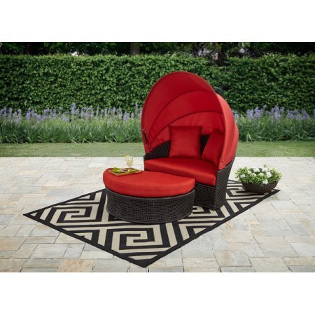 Elegant,Sturdy,Water,Stain and Mildew Resistant Mainstays Briar Creek Outdoor Sectional Daybed with Canopy,Includes 1 Cushioned Daybed with Shade Canopy and 1 Cushioned Ottoman,Wicker,Red (Bedding Daybed Canopy)