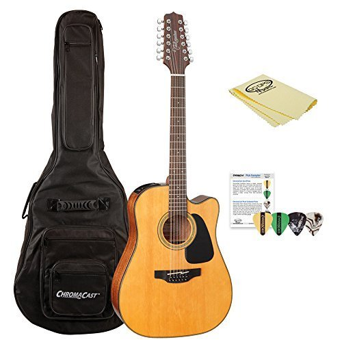 Takamine GD30CE-12 NAT-KIT-1 Dreadnought 12-String Cutaway Acoustic-Electric Guitar with Jumbo Gig Bag (Electric String Acoustic 12 Takamine)