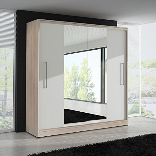 Fado White Mirrored 2 Door Wardrobe Closet With Sliding