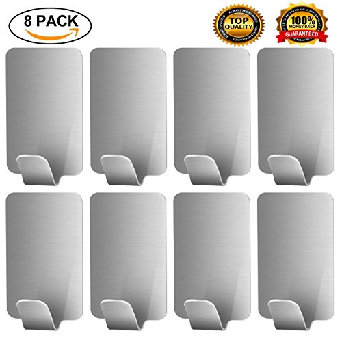Adhesive Hooks Wall Hooks Stainless Steel Strong Removable Waterproof Hooks Bathroom Towels and Robe Hooks for Bath Kitchen Garage 8 Pack