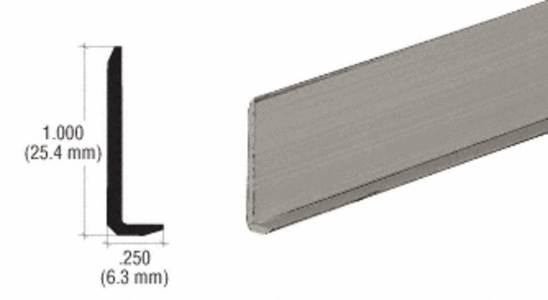 CRL Brushed Nickel Aluminum 1/4'' L-Bar Extrusion - 12 ft Long