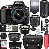 Nikon D3500 DSLR Camera w/AF-P DX 18-55mm VR & 70-300mm Double Zoom Lens Kit Travel Case + Wide Angle & Telephoto Lens + Filter Set 32GB Accessory Bundle