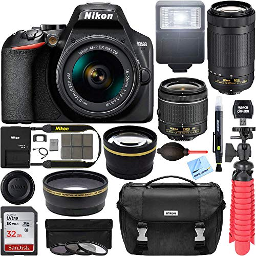 Nikon D3500 DSLR Camera w/AF-P DX 18-55mm VR & 70-300mm Double Zoom Lens Kit Travel Case + Wide Angle & Telephoto Lens + Filter Set 32GB Accessory Bundle (Camera Rubber Digital)