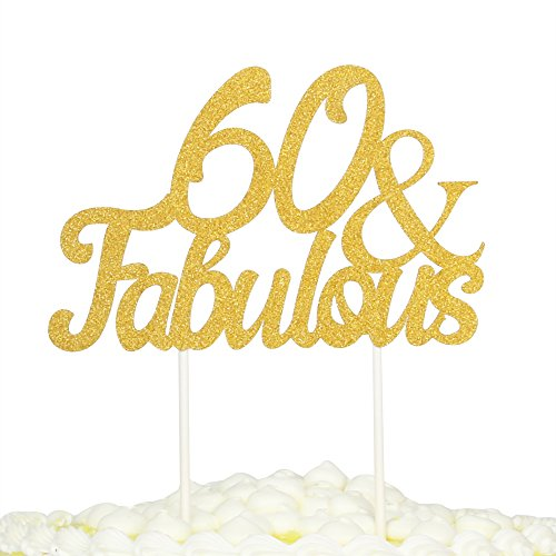 60th Cake Birthday (PALASASA Gold Glitter 60 & Fabulous Cake Topper, Wedding, Birthday, Anniversary, Party Cupcake Topper Decoration)