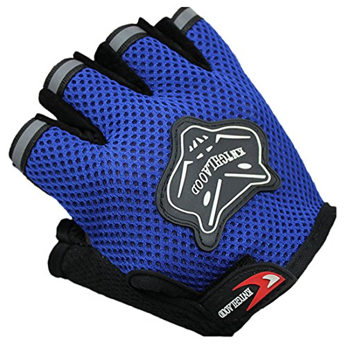 HANYI Protective Breathable Gloves, Outdoor Sports Bicycle Cycling Biking Hiking Garden Gel Half Finger Fingerless Gloves (Blue)