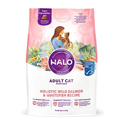 - Halo, Purely for Pets 35221 Natural Dry Cat Food, Wild Salmon & Whitefish Recipe, 10 lb Bag, Brown