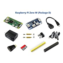 Raspberry Pi Zero W (Built-in WiFi) Development Kit Type D with Micro SD Card, Power Adapter, a USB HUB Hat-Allows More USB Device,and Basic Components