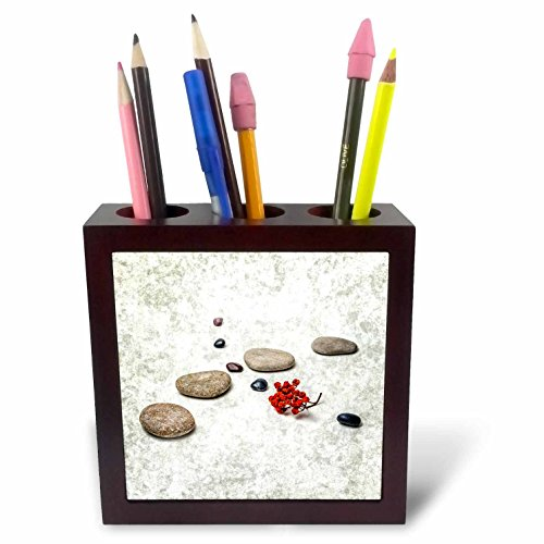 3dRose Alexis Photography - Objects Zen - Intersection of stones and pebbles, cluster of red rowan berries. Zen - 5 inch tile pen holder (ph_265666_1)