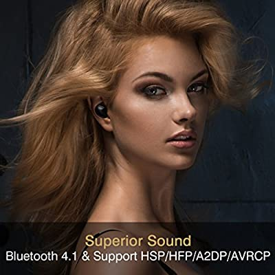 Bluetooth In-Ear Earbuds with Mic, Pansonite Small Stereo Wireless Headphones, Support Bluetooth V4.1 headset for Samsung S8/S8+,Note8 and Iphone 8/8 Plus, Dual Earphones with Portable Charging Case
