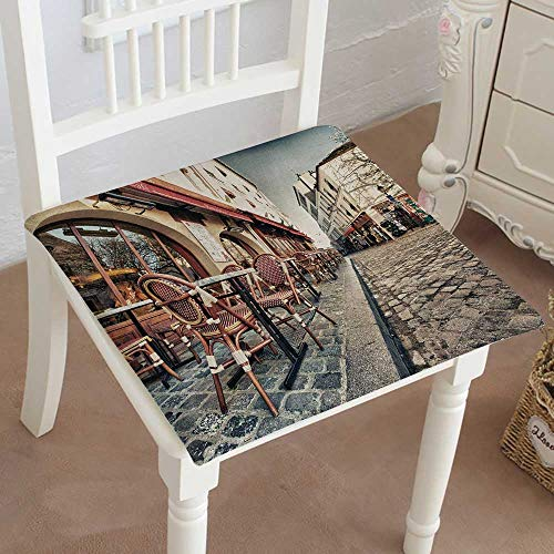 Mikihome Chair Pads Squared Seat Paris dec Place du tertre in Montmartre Paris with Street Artists Outdoor Dining Garden Patio Home Kitchen Office 16